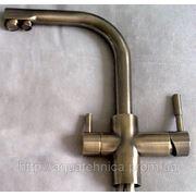 Смеситель Аtoll KDF со встроенным краном и каналом чистой воды, 2 вентиля-рычага, цвет Antique Brass фото