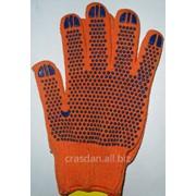 Перчатки рабочие трик. из х/б пряжи с точкой ПВХ orange Арт. 526 фото