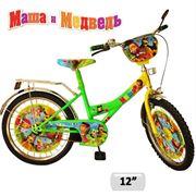 """Велосипед 2-х колес 12"""" 131208 (1шт) Маша и Медведь со звонком зеркалом вставками в колесах фото"""