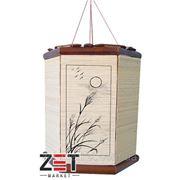 Светильник 6-и угольный бамбуковые мелкие палочки рисунки плетенный 24*28*H31 опт фото