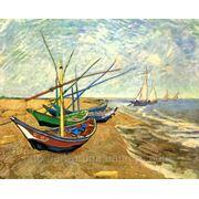 Винсент ван Гог, Fishing Boats on the Beach at Saintes-Maries, холст 40х31, репродукция