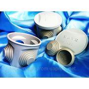 Коробки наружные круглые 60х50 mm электроустановочные с 4 кабель-вводами: ISO 9001, УКРСЕПРО, БЕЛСТАНДАРТ, РОССТАНДАРТ фото