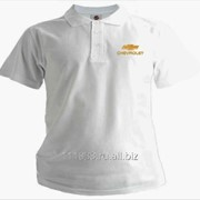 Рубашка поло Chevrolet белая вышивка золото фото