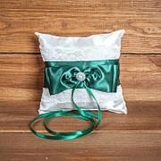 Свадебная подушечка для колец с кружевом (арт CR-212) фото