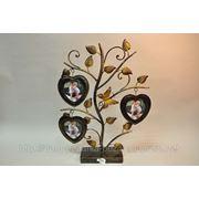 Фоторамка из металла ручной ковки в виде дерева с бабочкой в форме сердец на 3 фото (бабочка) 44*57 см фото