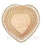 Хлебница с расправлен. краями в виде сердечка, редкое плетен. (23*23*Н6,5), арт. 835123 фото