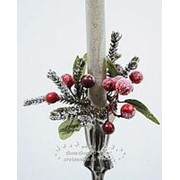 Украшение для свечи «Кольцо из хвои с ягодами», 13 см (Kaemingk) фото