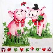 Салфетка для декупажа Счастливые свинки фото