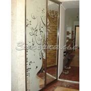 Двери для шкафов купе зеркальные с узором фото