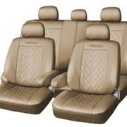 Чехлы Mazda 3 09 черный к/з бордо флок Экстрим ЭЛиС фото