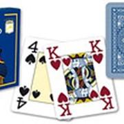 """Карты для покера """"Modiano Poker"""" 100% пластик, Италия, синяя рубашка фото"""
