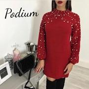 Женское платье-туника с жемчужным декором, в расцветках фото