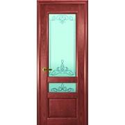 Дверь Валентия-2 Красное дерево остекление Светлое Франческа фото