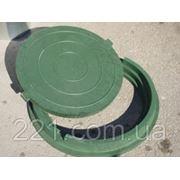 Люк канализационный полимерпесчаный легкий зеленый до 5 тонн фото