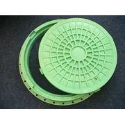 Люк канализационный пластиковый лёгкий зелёный (тип Л) 1,5 т с замком диаметр 610мм фото