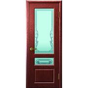 Дверь Валентия-2 Красное дерево остекление Светлое стекло фото