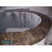 Облицовка бассейнов и вокруг них натуральным травертином мрамором фото