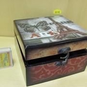 Шкатулка квадратная Мировые шедевры-лаковая /средняя/, арт. 12061/2 фото