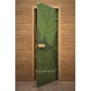 Дверь Арт серия с полноцветным рисунком ГлассДжет Листья зелень фото