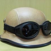 Шлем байкера с очками Немецкий красно-черный, арт. 151001/3 фото