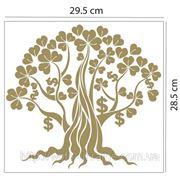 Наклейка Дерево богатства с листьями клевера фото