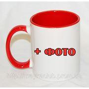 Кружка з червоною ручкою та серединою. Друк зображення на чашках фото