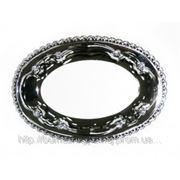 Металлическая тарелка овальная, d запечатки 15x9.3 см