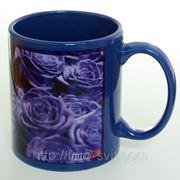 Чашка с фото синяя. Печать на чашках. Фото на чашках фото
