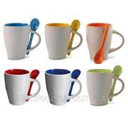 Кружка керамическая с ложкой, цветная с фото или логотипом фото