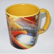 Керамическая фотокружка с нанесением изображения, с цветными вставками фото