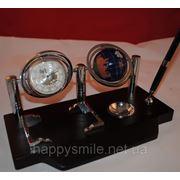Офисный набор, подставка под ручку с глобусом и часами фото