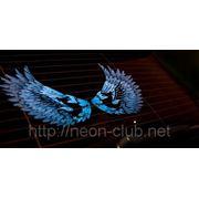 """Неоновый Авто эквалайзер / автоэквалайзер """"Крылья Дракона"""" на заднее стекло авто, размером 50*25 см"""