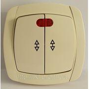 LXL BETA CREAM Выключатель двойной проходной с подсветкой (белый/крем) фото
