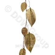 Декор Веточка с листьями металлич. золотистая 110см фото