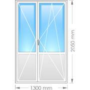 Металлопластиковая балконная дверь двустворчатая с двумя открываниями фото