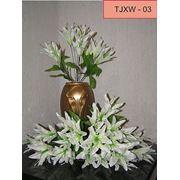 Цветы искусственные Лилия белая 9 голов 40 см. фото