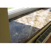 Глянцевые подоконники с покрытием Renolit (Германия) мрамор ширина 300 мм фото