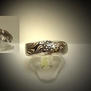 Кольцо Мокуме гане Unisex с бриллиантом фото