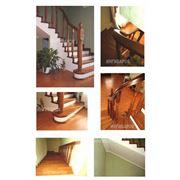 Лестница из массива маренного дуба фото
