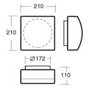 Светильник квадратный настенный, потолочный LINA 4 IN-12K2/030 фото
