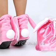 Розовый мешочек с белыми лентами фото