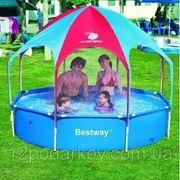 Детский каркасный восьмиугольный бассейн с тентом от солнца 56193, BestWay, (244х51см.) фото