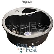 Круглая кухонная с дополнительной секцией Мойка GranFest Rondo GF-R510K цвет черный
