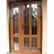 Двери входные металлопластиковые полуторные ЗОЛОТОЙ дуб фото