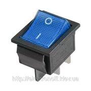 Переключатель с подсветкой широкий, синий, 4pin фото