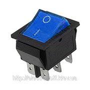 Переключатель с подсветкой широкий, синий, 6pin
