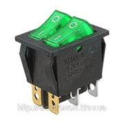 Переключатель с подсветкой, сдвоенный широкий, зеленый, 6pin