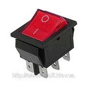 Переключатель с подсветкой широкий, красный, 6pin фото