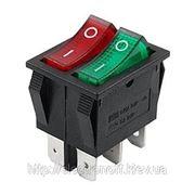Переключатель с подсветкой, сдвоенный широкий, красный/зеленый, 6pin фото