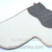 Рукавичка для сауны комбинированный войлок фото